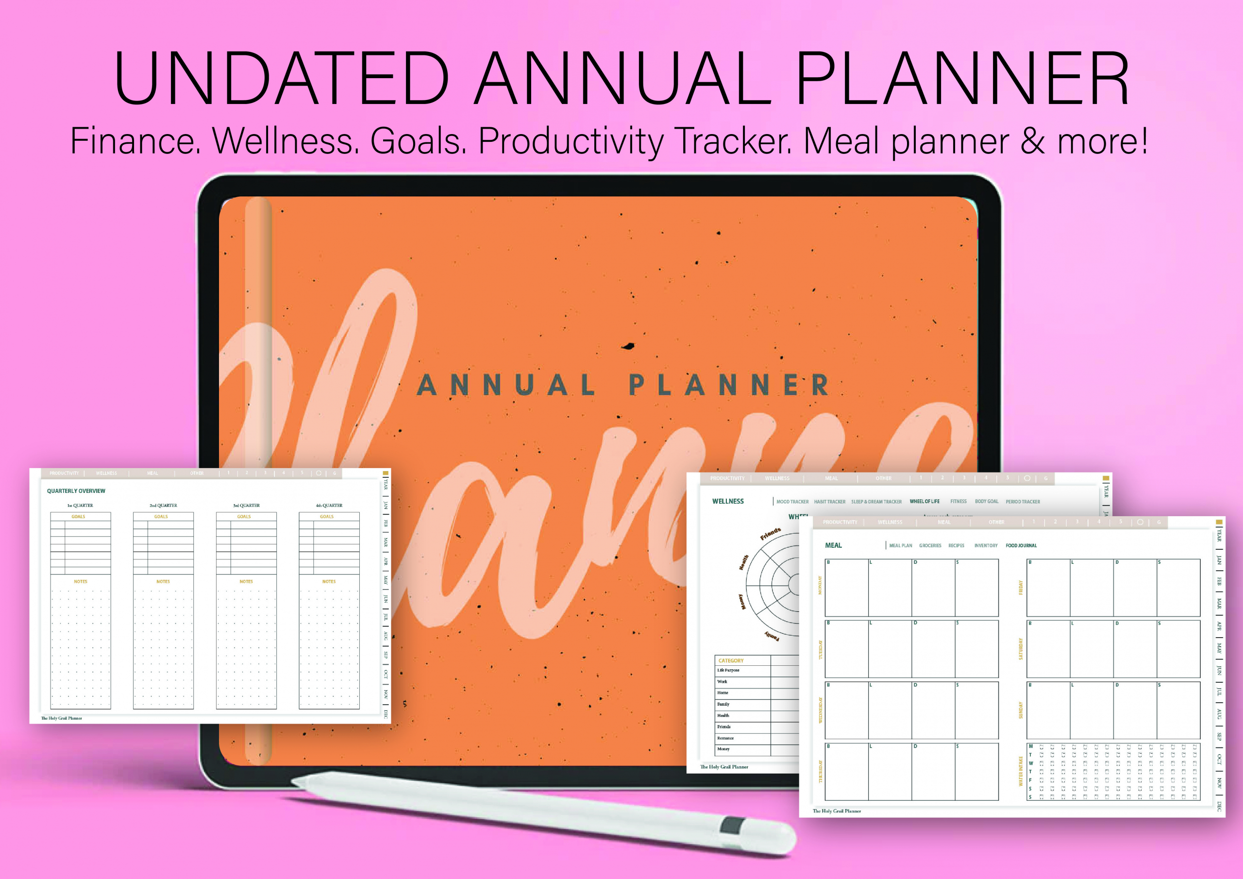 UNDATED YEARLY PLANNER. Undated digital planner