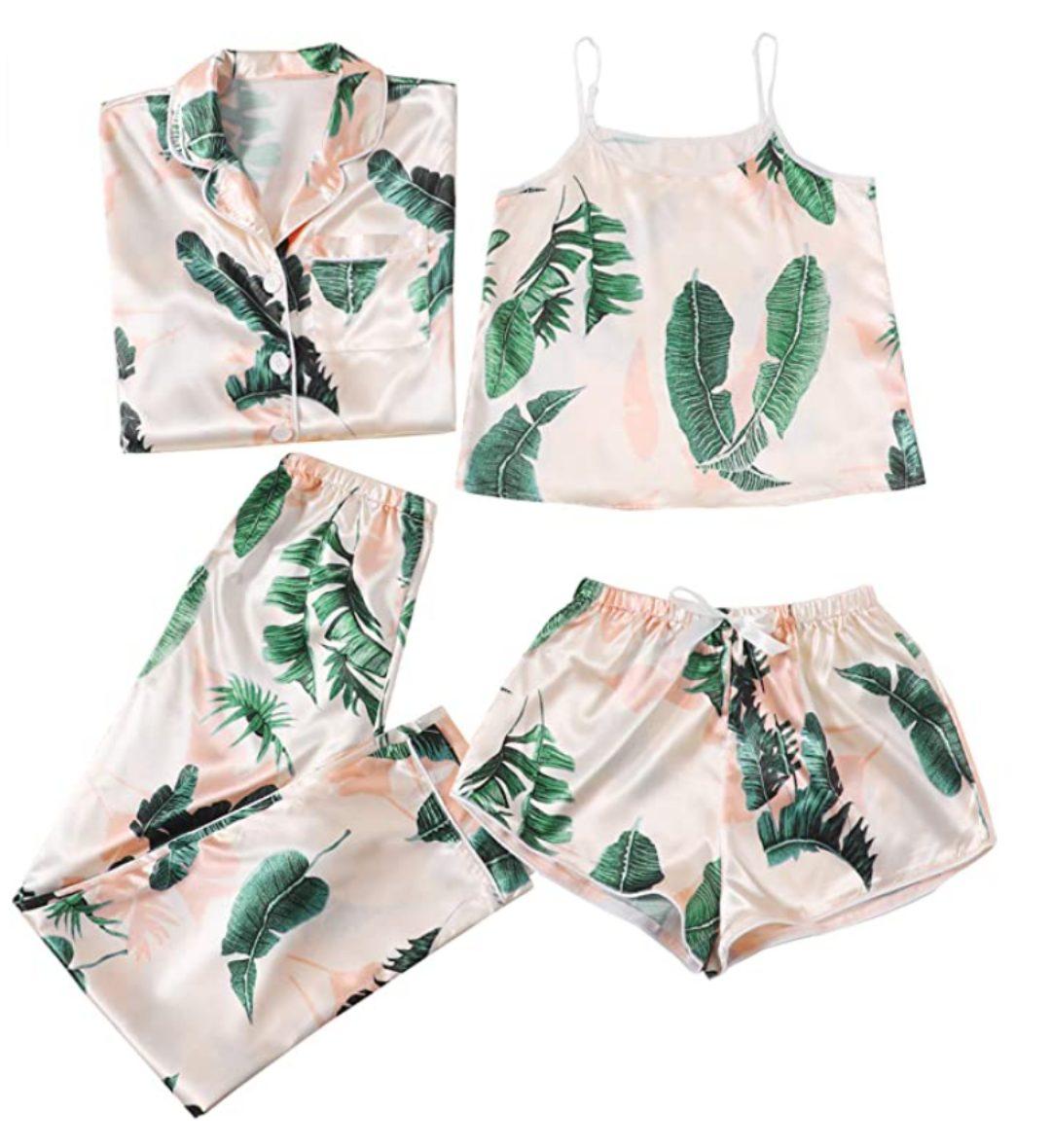 Women's Sleepwear 4pcs Satin Cami with Shirt Pajama Set