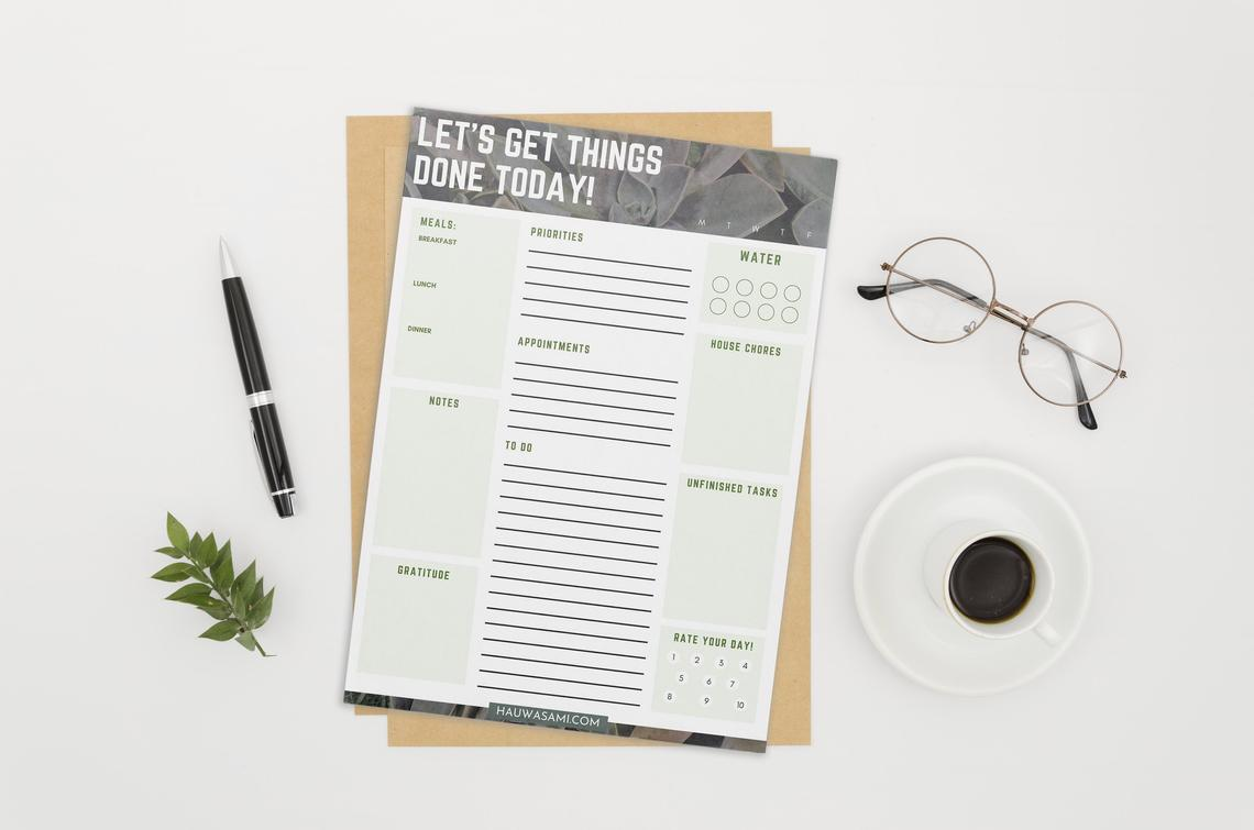 undated daily printable planner