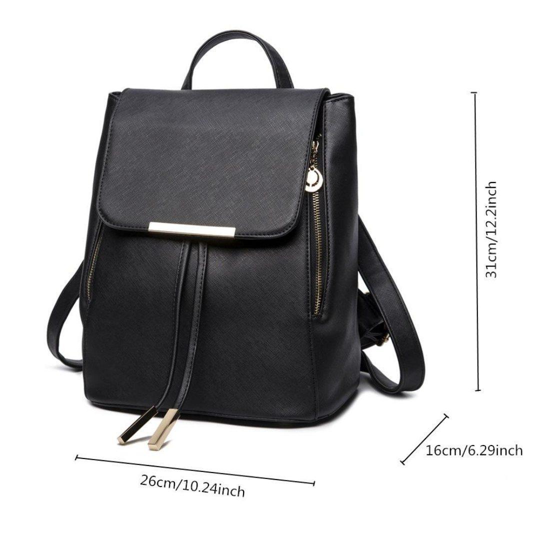 B&E LIFE Fashion Shoulder Bag Rucksack PU Leather Women Girls Ladies Backpack Travel bag (Black)